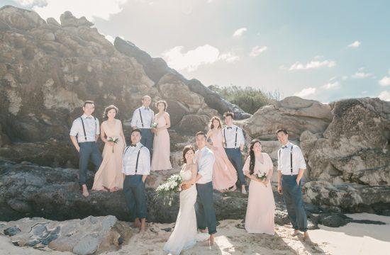 Whole wedding party at Hawaii Maui