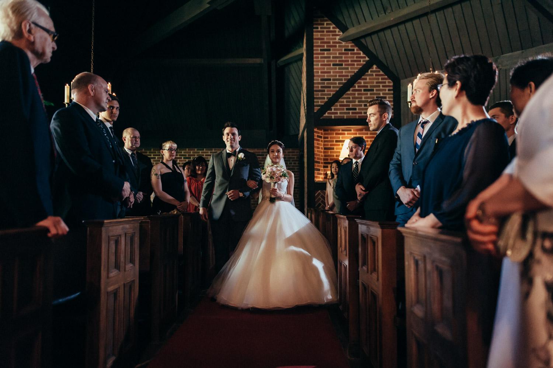 Toronto Old Mill Wedding Chapel aisle walk