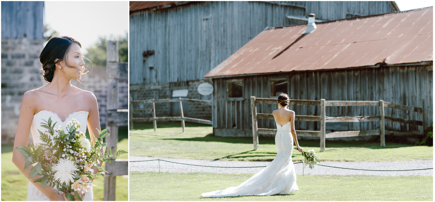 Pipers Heath Golf Club bridal portrait behind barn