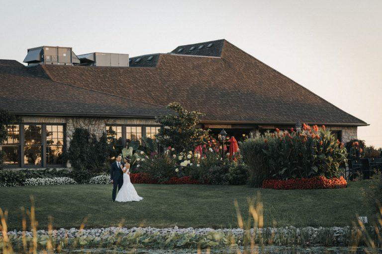 Pipers Heath Golf Club Wedding sunset portrait club house