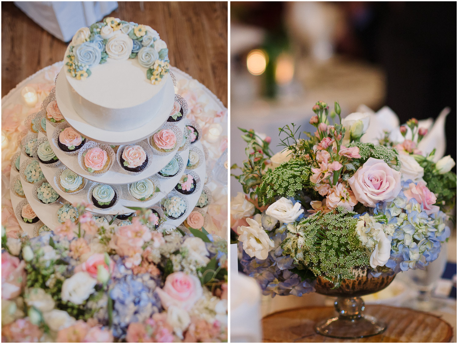 Flower detail and cupcakes at Old Mill Toronto wedding