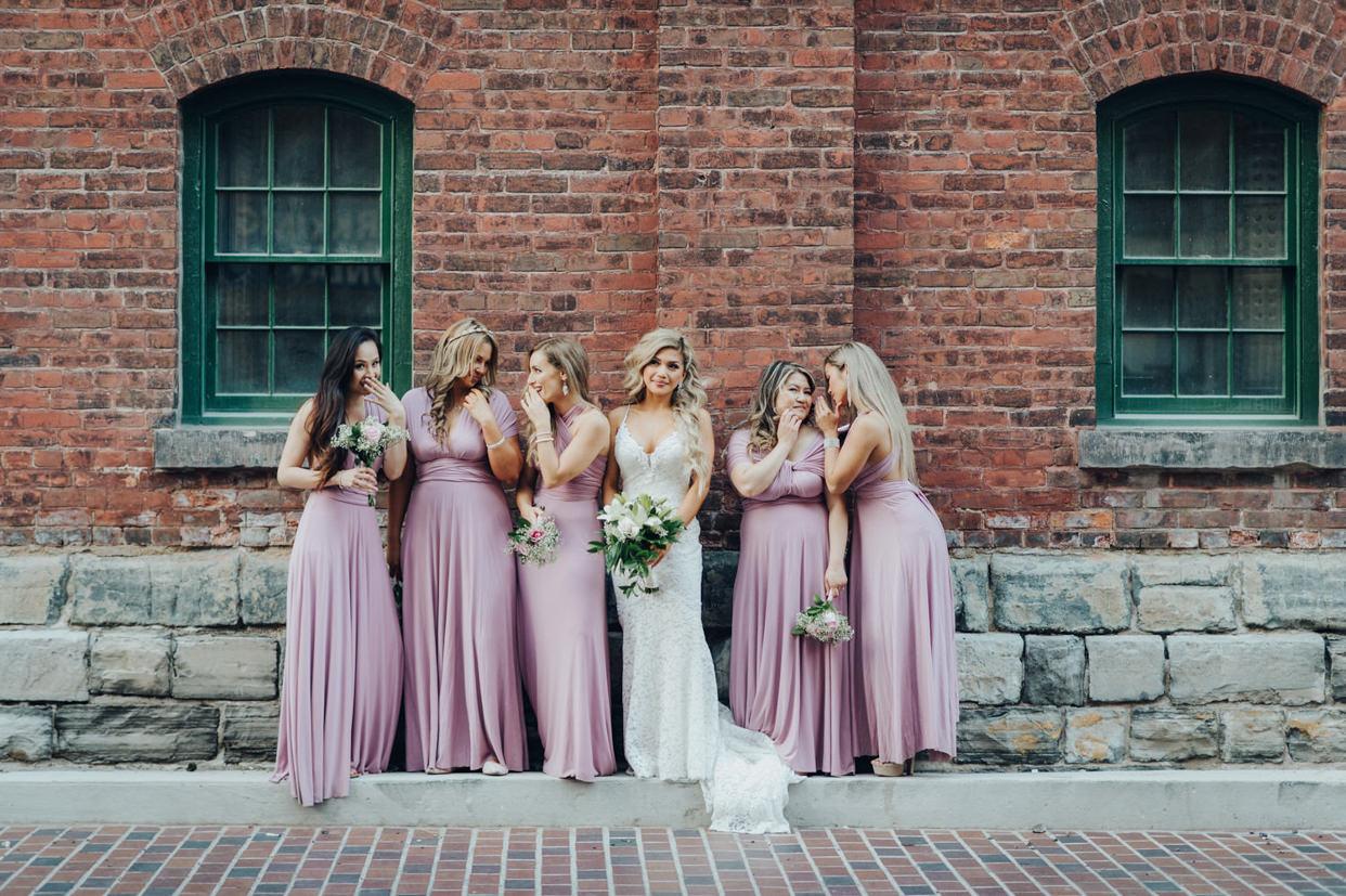 Distillery District Wedding photos of bridesmaids