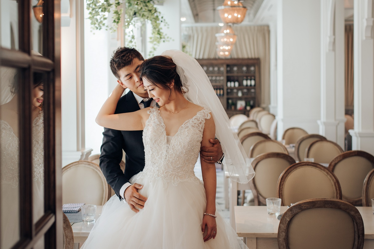 Wedding at the Colette Grand Cafe in Toronto indoor portrait feature