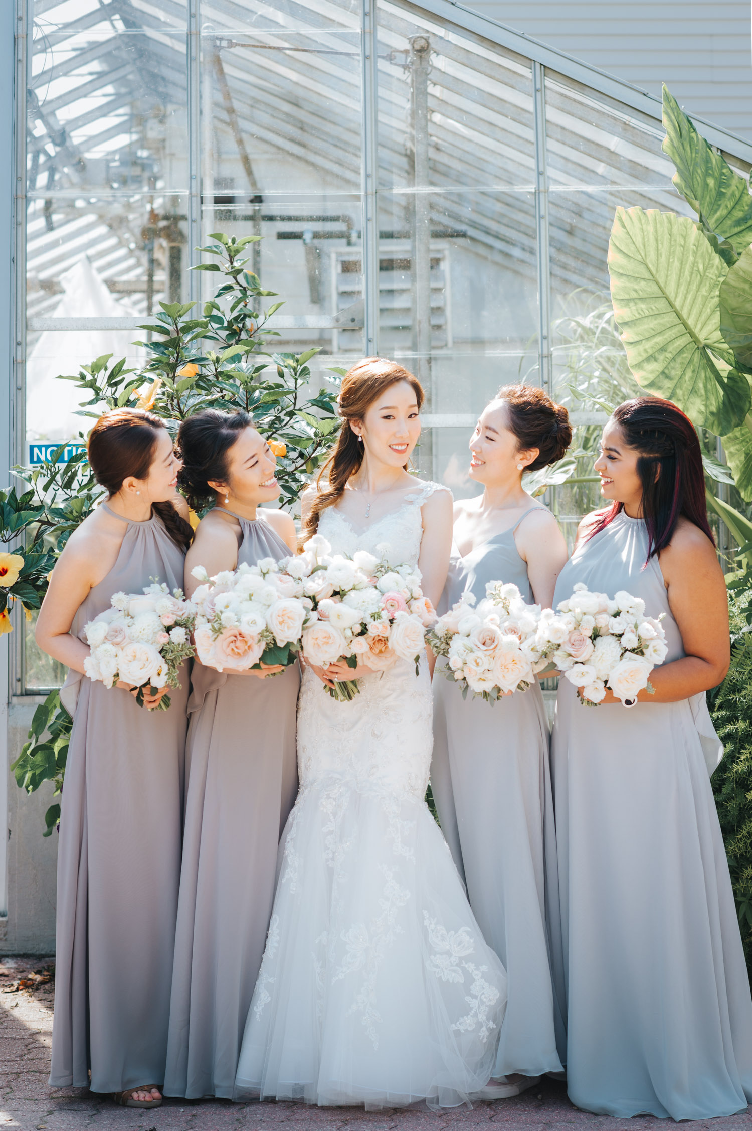 Bride and her bridesmaids at Edwards Garden Wedding Photography