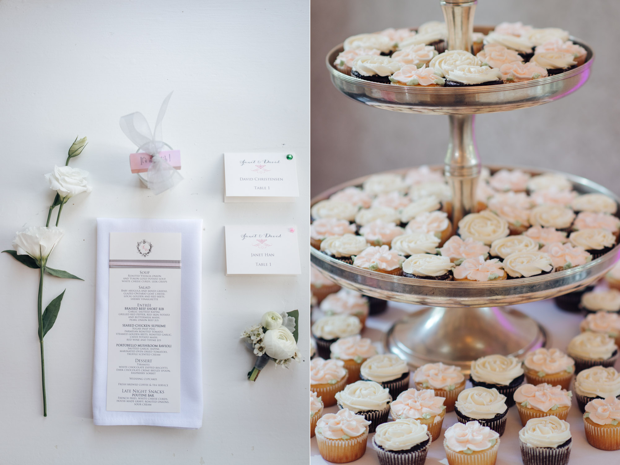 Cupcake and table decor at the Estates of Sunnybrook Wedding Reception