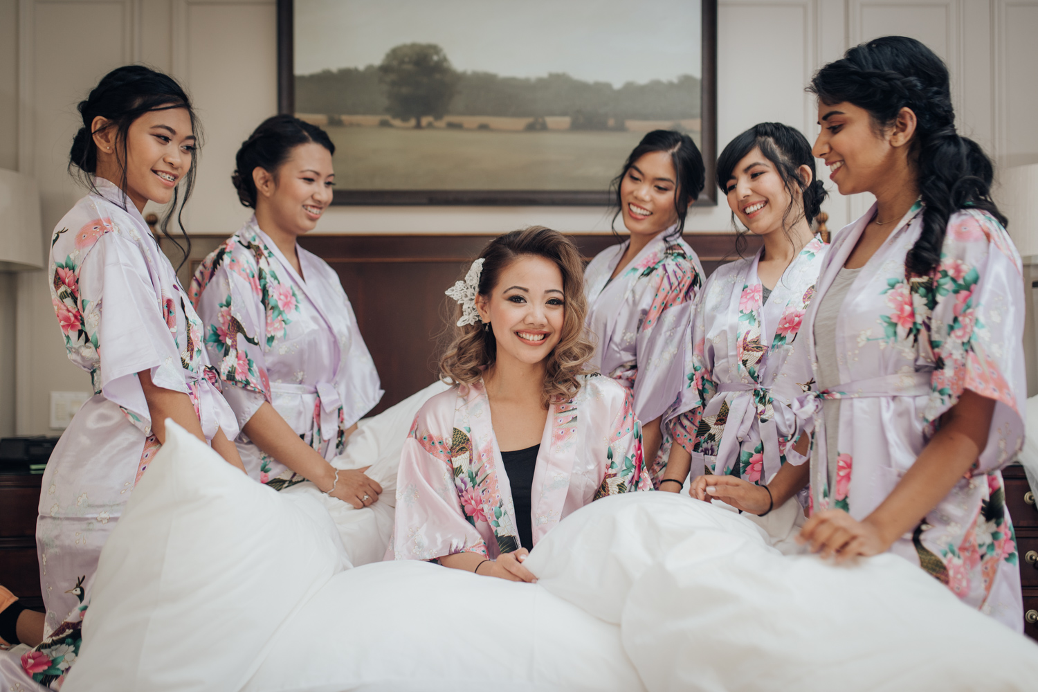 Bride and her bridesmaids at Toronto Windor Arms Hotel Wedding