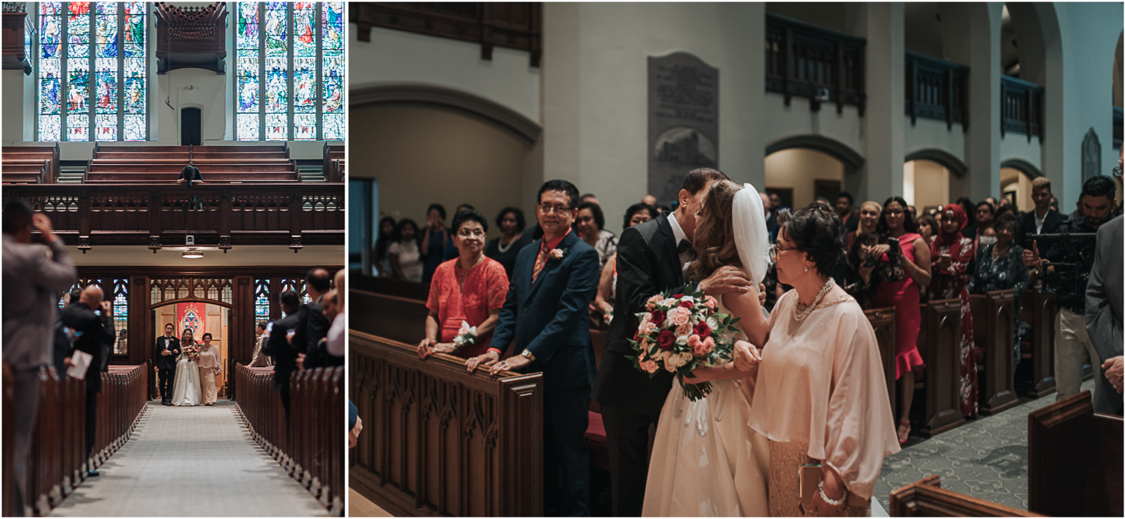 Bride walking down the aisle at the Timothy Memorial Church in Toronto