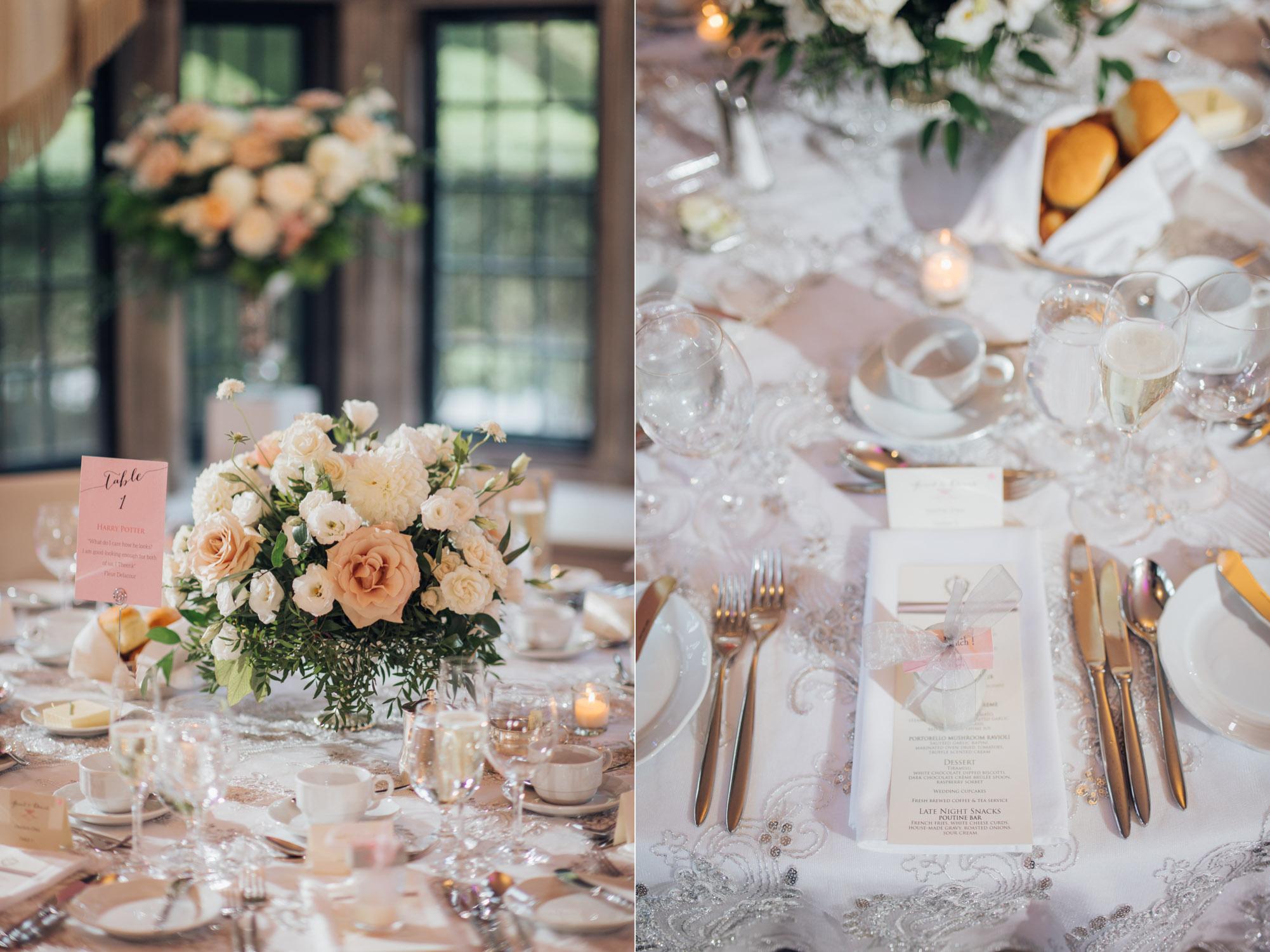 Wedding Reception Table Setting Estates of Sunnybrook Wedding Vaughan Estate