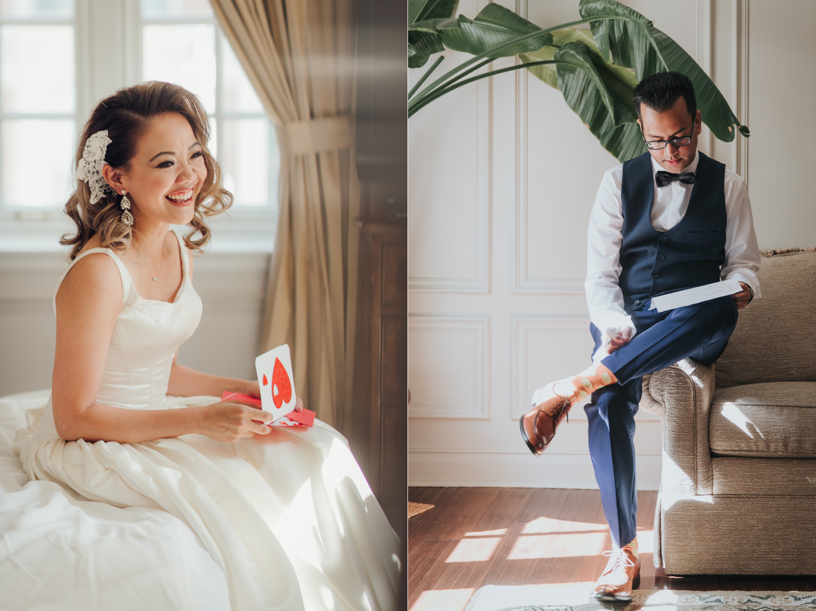 Bride and Groom reading each other's notes at Windsor Arms Hotel Toronto