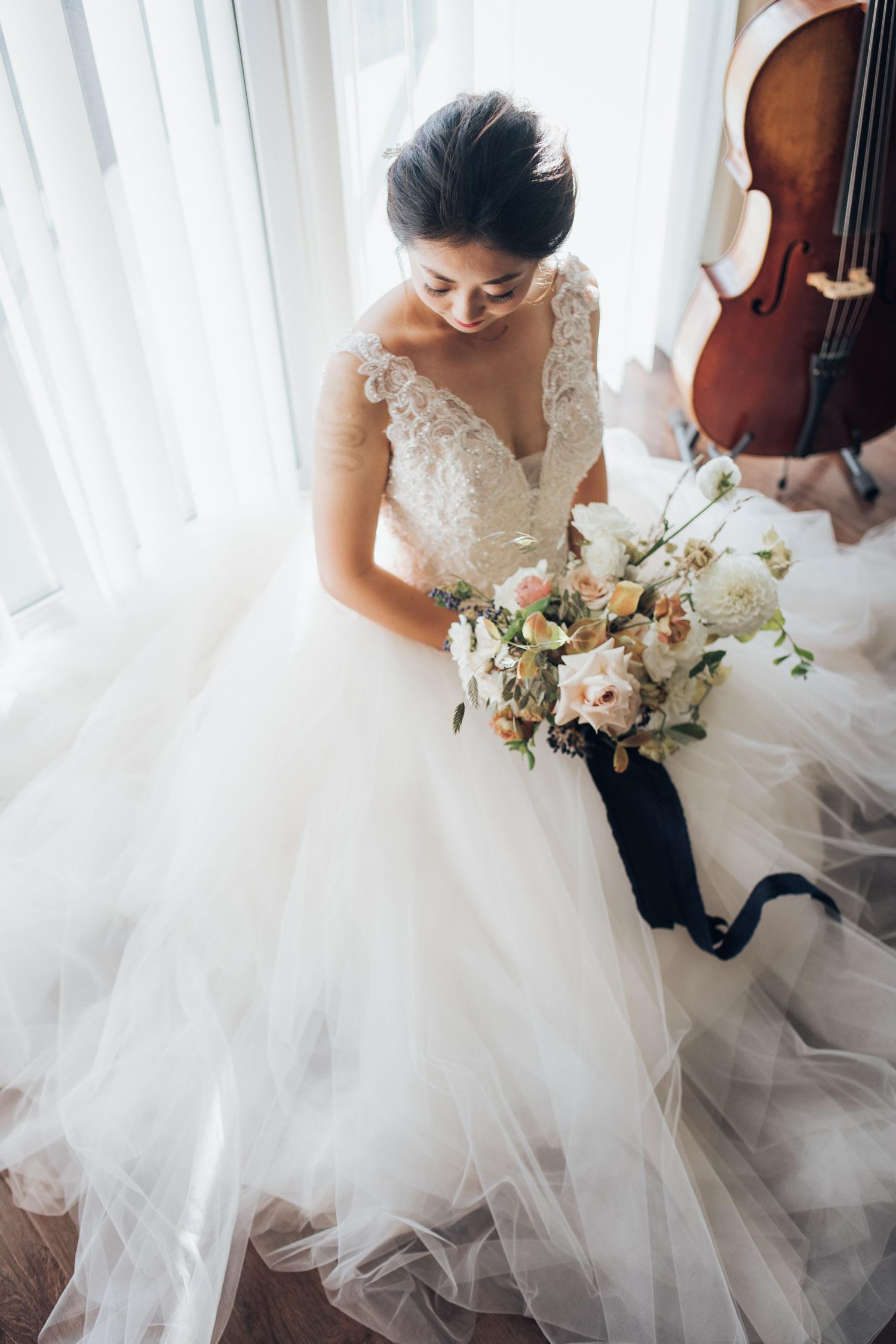 White Oak Flowers Co Bouquet Toronto Wedding Bridal Portrait Before Ceremony