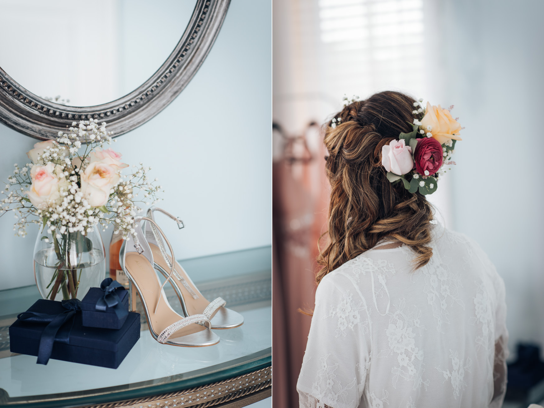 Photo of a bride getting ready in Toronto with details of her shoes, bouquet, flower crowns and jewelries