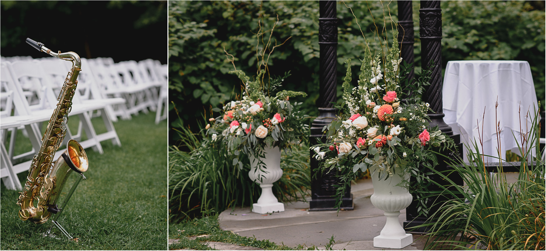 Details by the gazebo at the Elm Hurst Inn outdoor Wedding Ceremony
