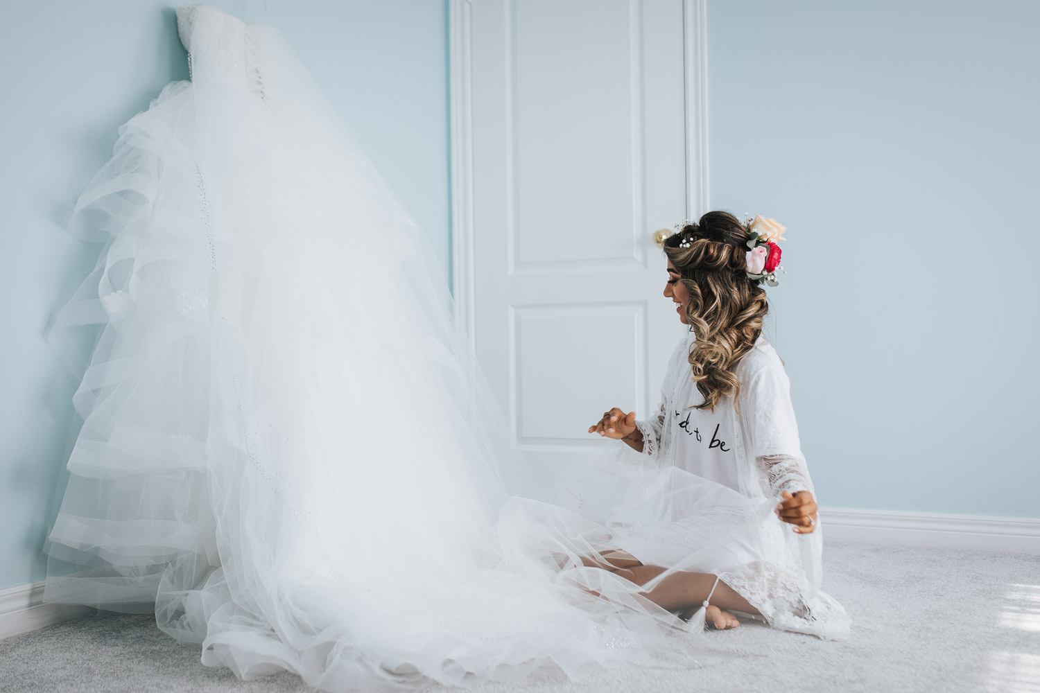 Photo of bride alone before getting into her wedding dress in GTA Newmarket