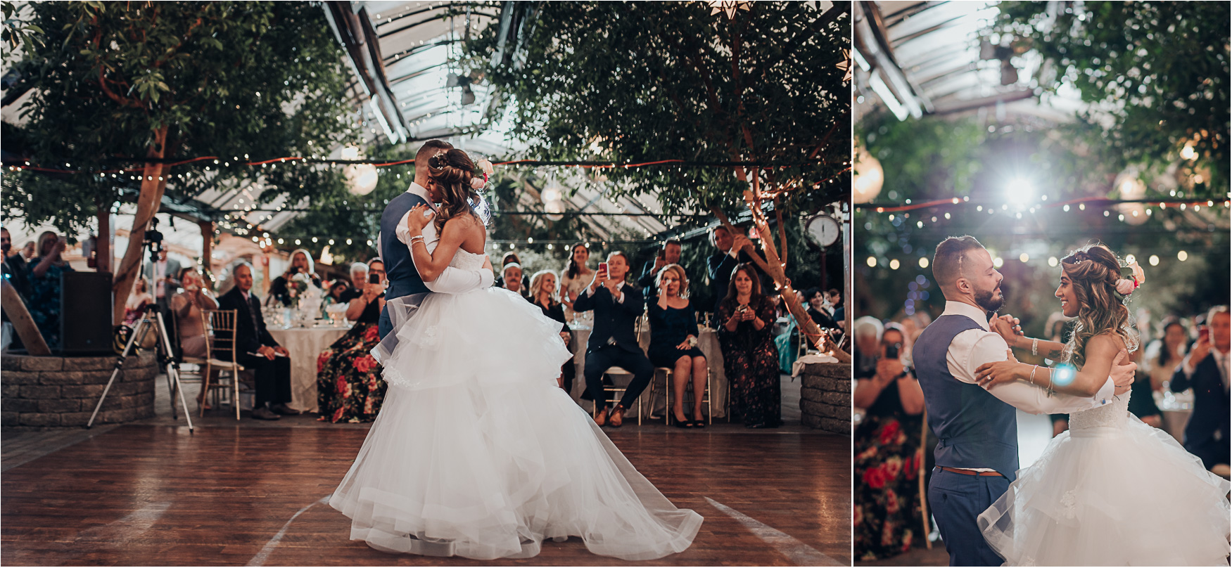 Fairy tale first dance photo at the Madsen's Greenhouse wedding reception