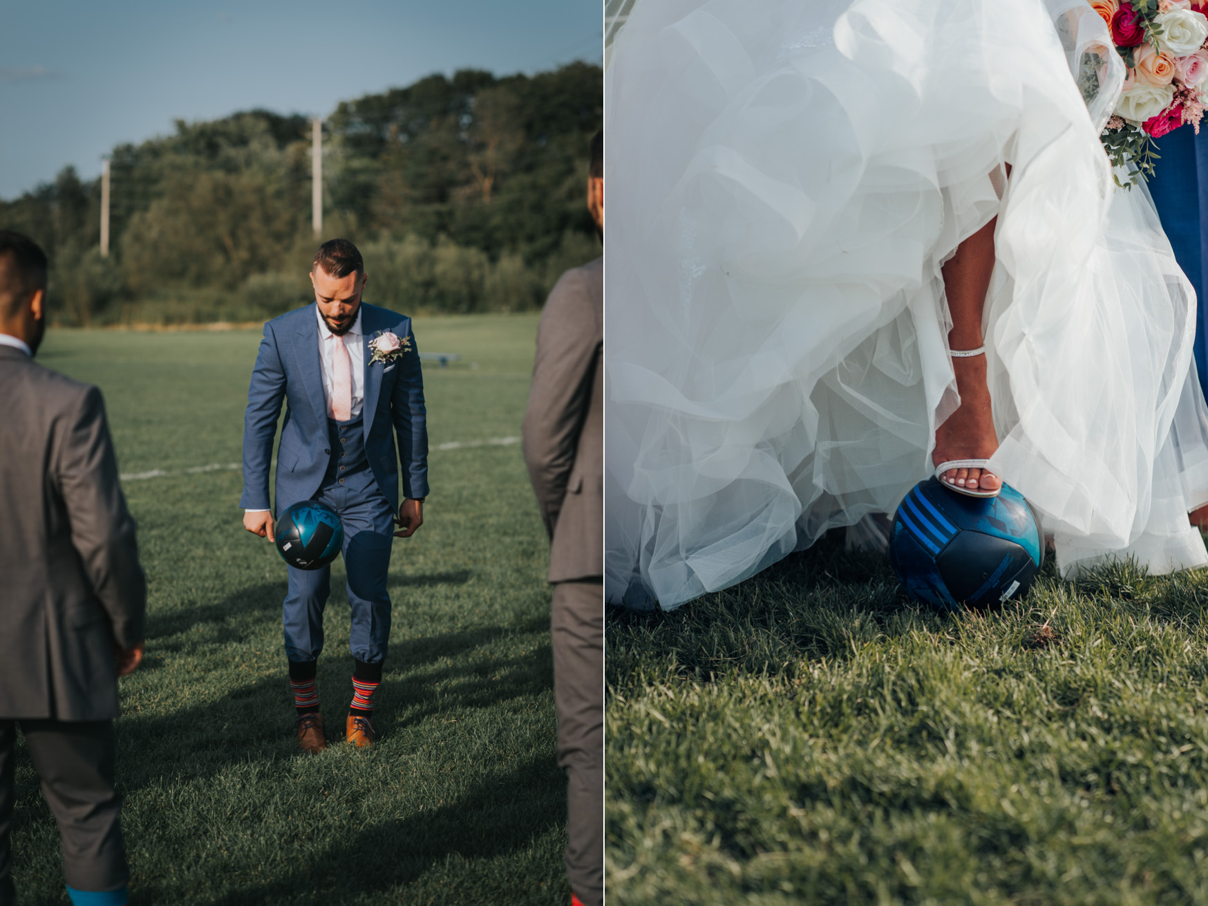 Bride and groom photo on a soccer field in Toronto