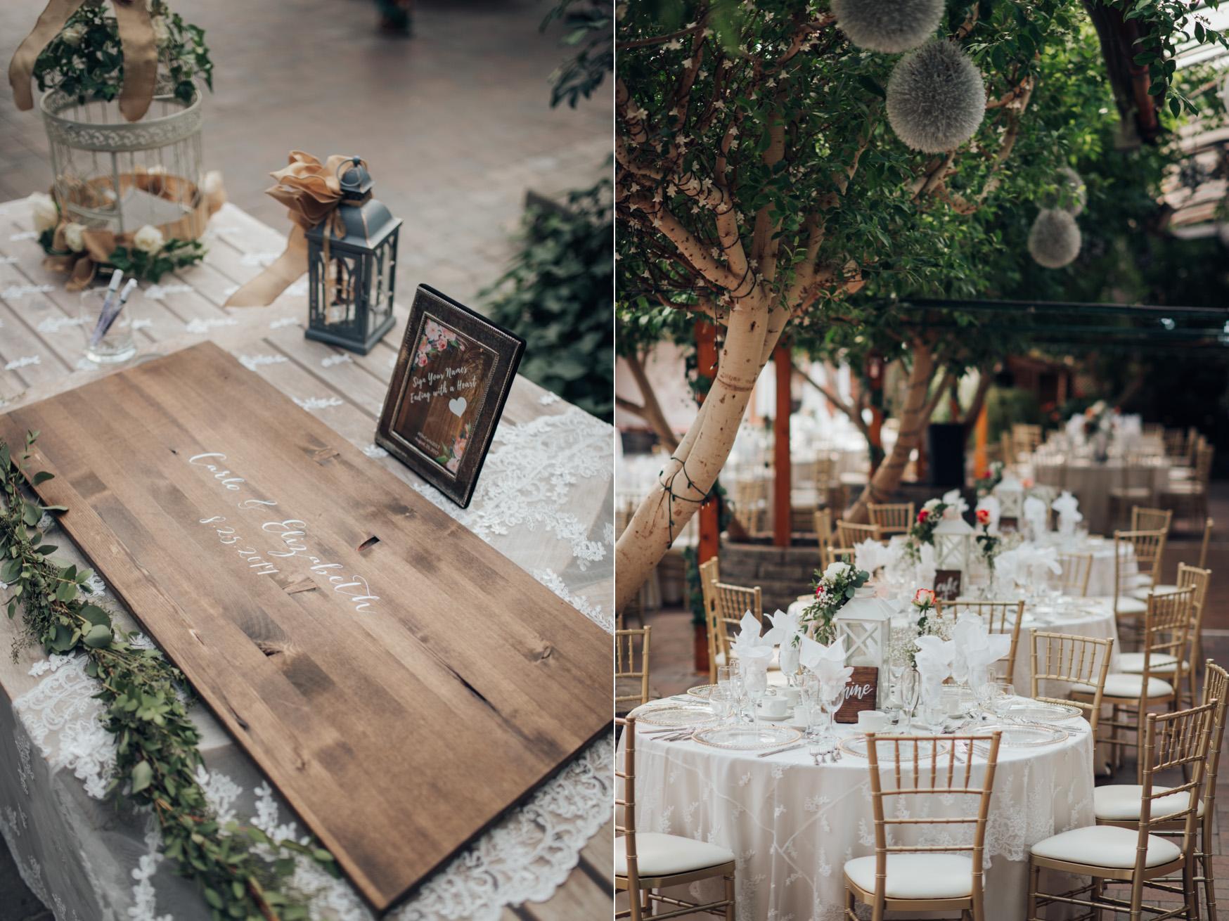 GTA Madsen's Greenhouse Wedding Table setting details