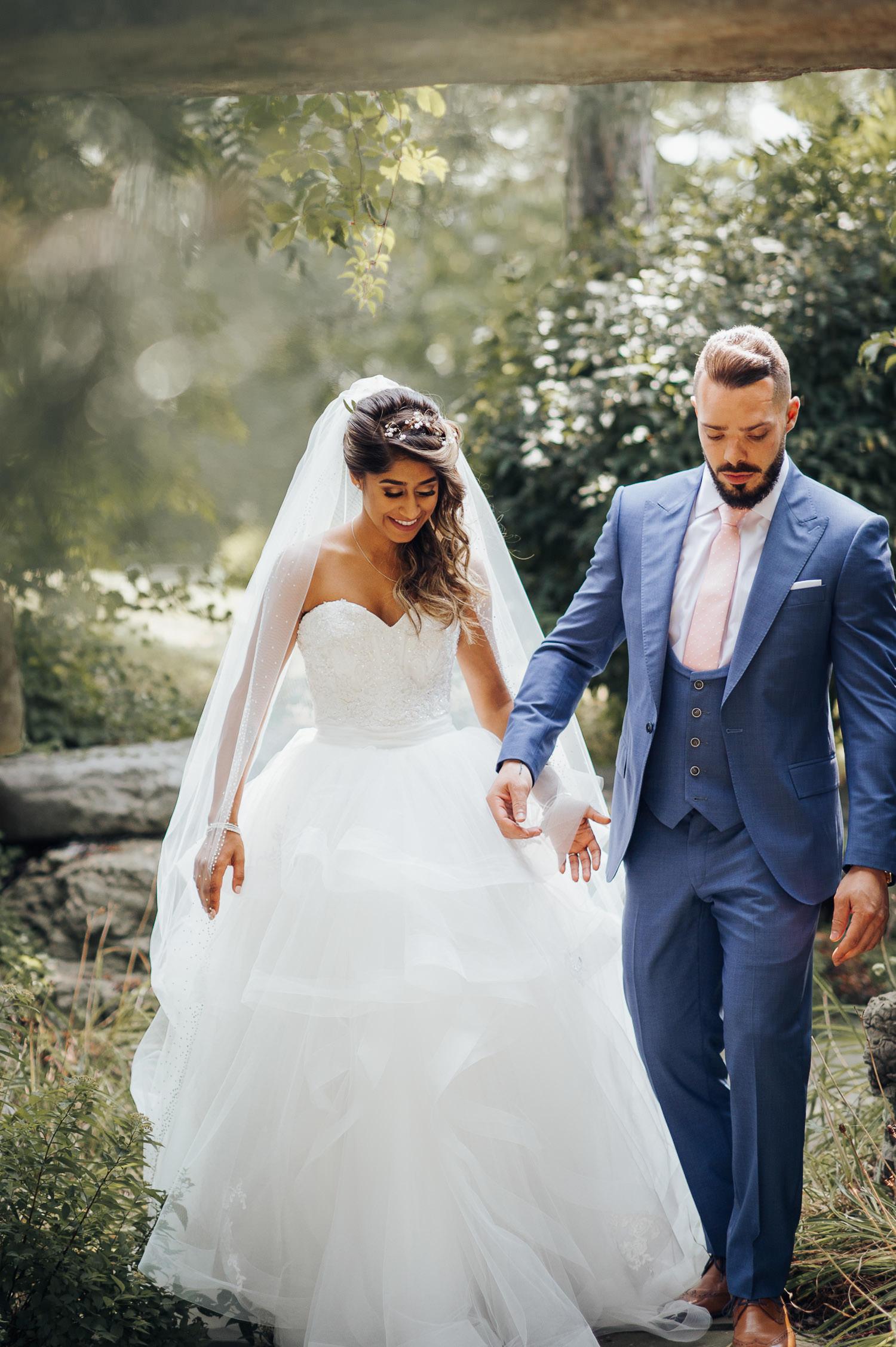 Toronto Garden Wedding Photography with a photo journalistic portrait