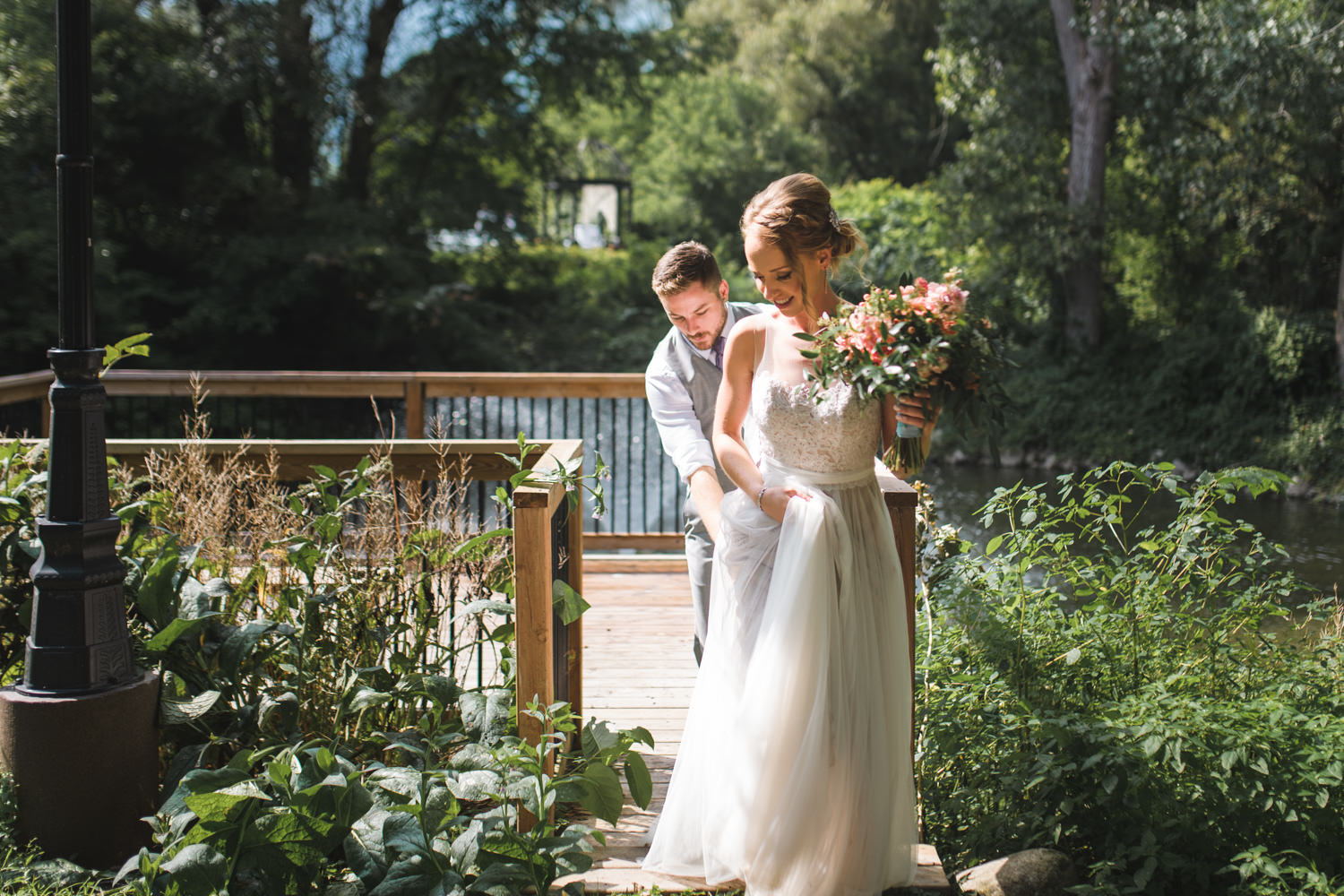 Elm Hurst Inn Wedding Bridal and Groom Portrait after the sun comes out