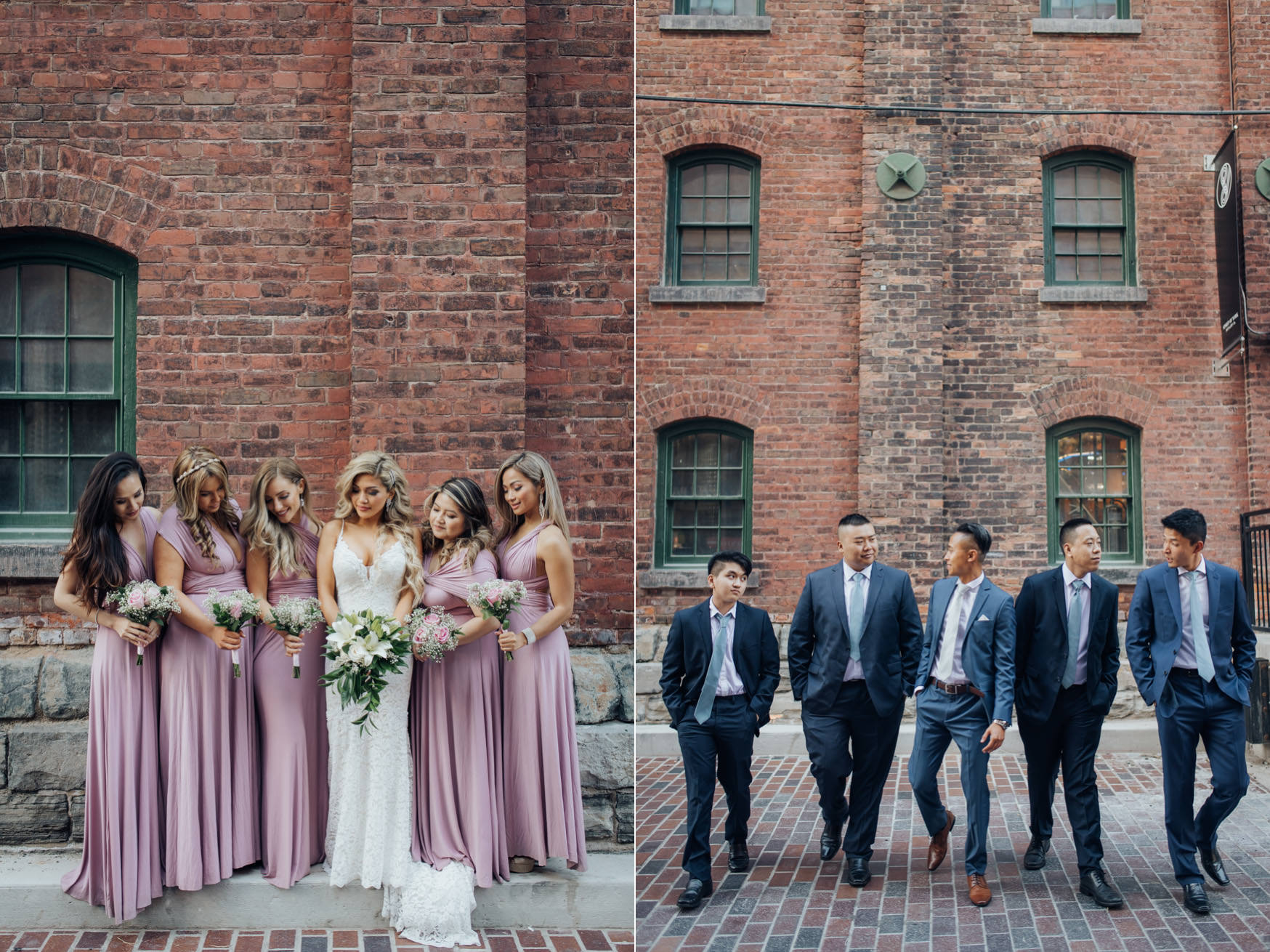 Bridesmaids and groomsmen at the distillery district wedding