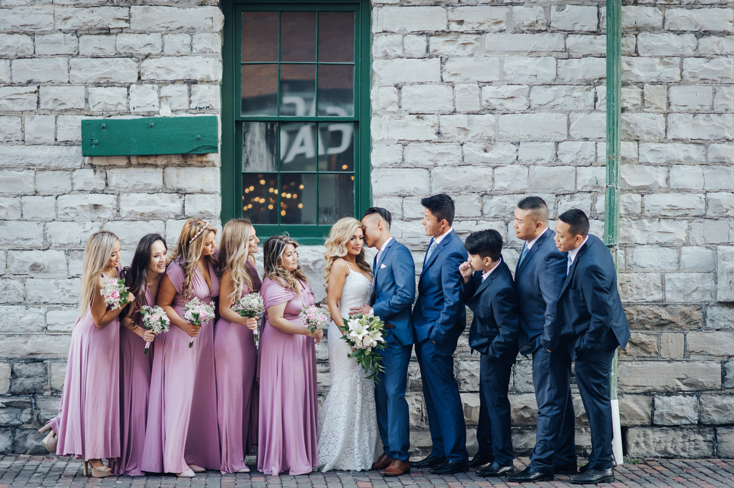 A Distillery District Wedding with the wedding party