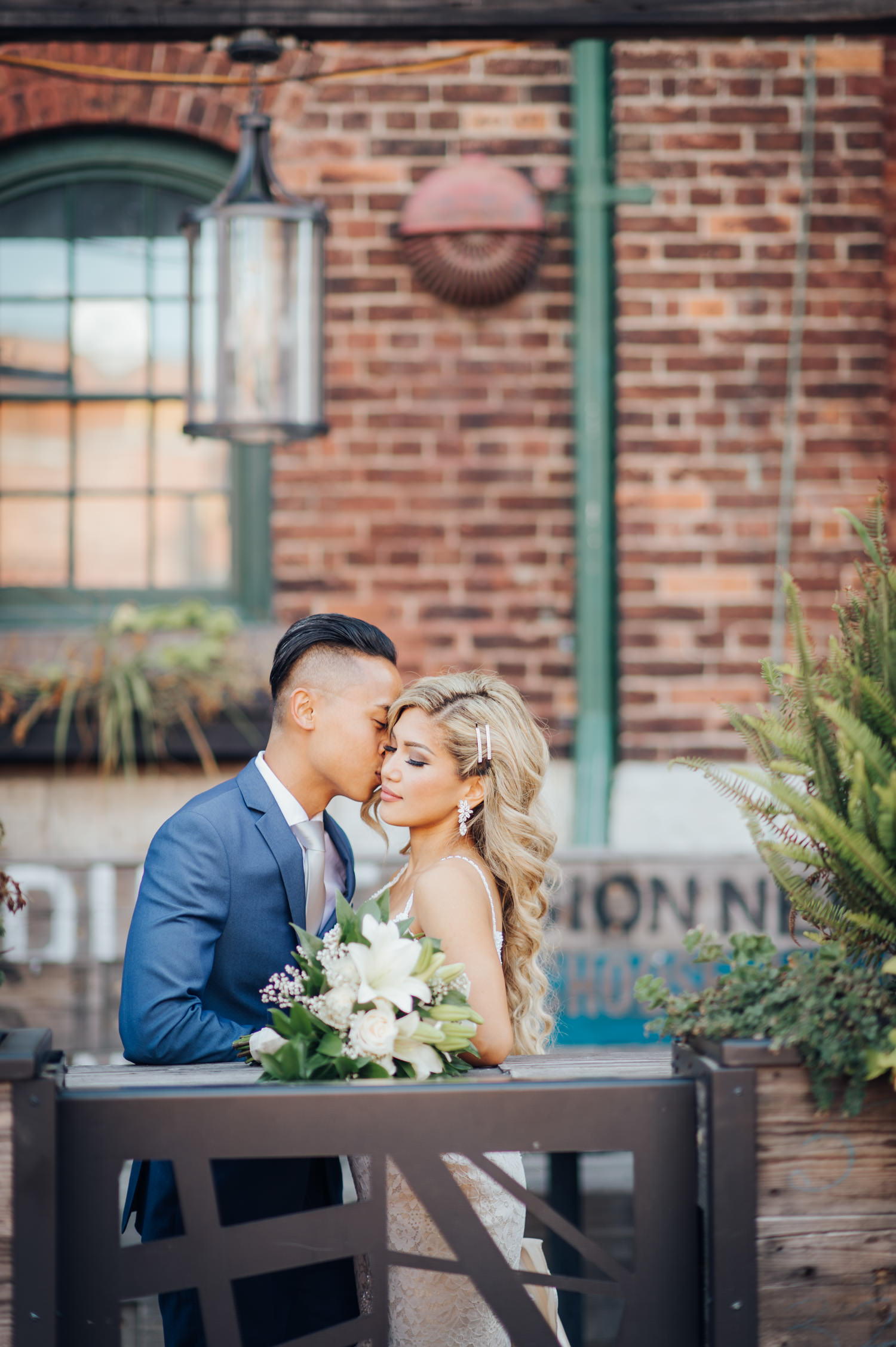 Portrait of Bride and Groom at the Toronto Distillery District Wedding