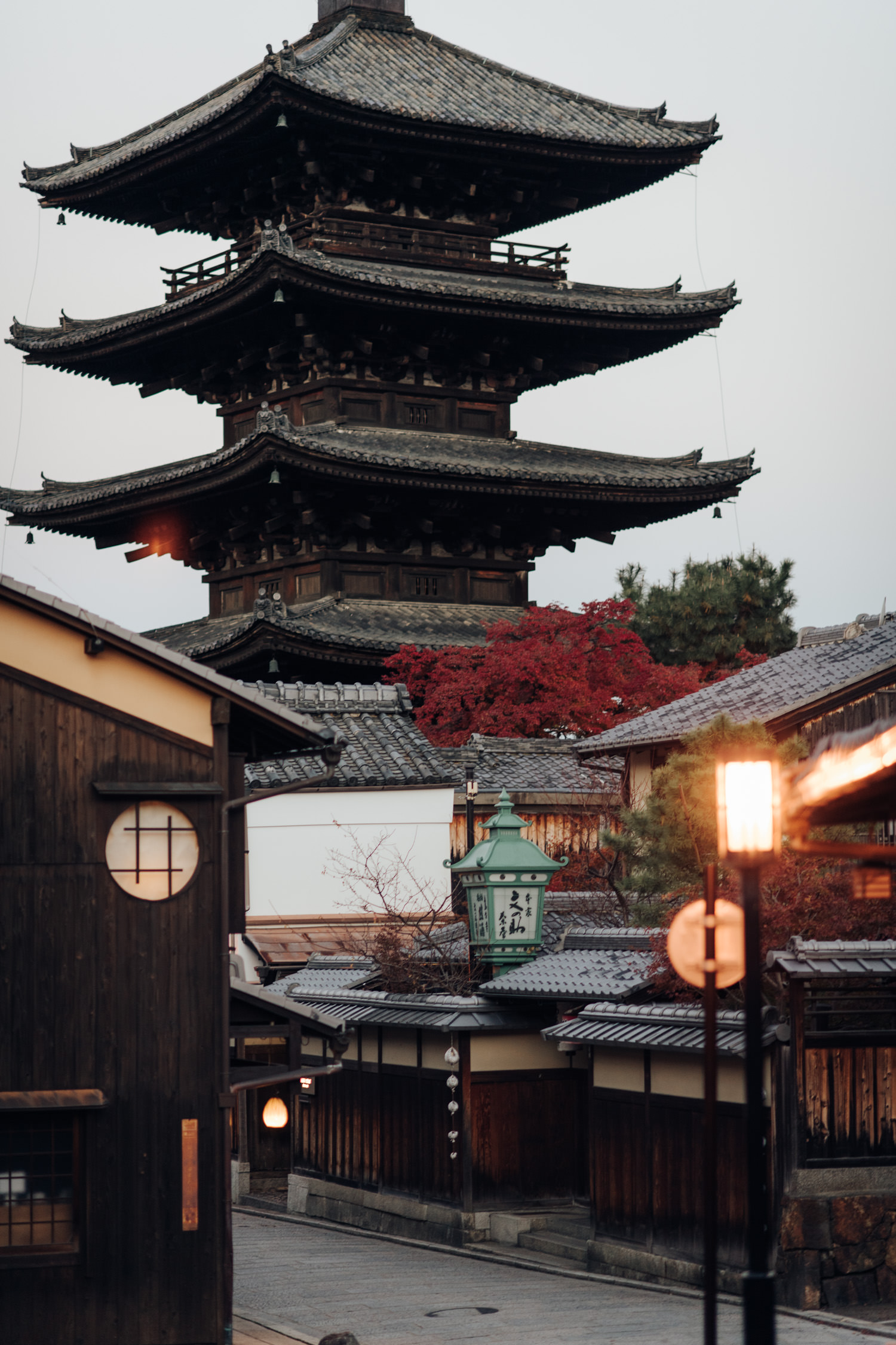 Yasaka Pagoda just before dawn in Kyoto Japan