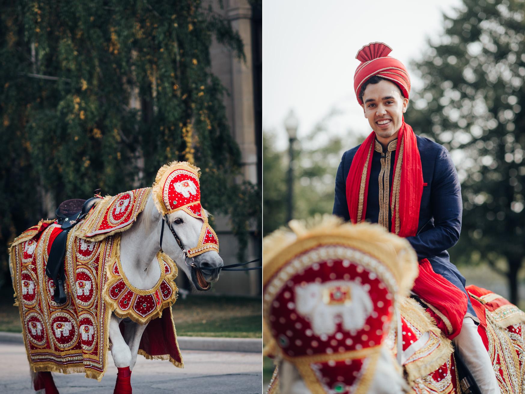 Hindu Wedding Baraat with horse in Toronto