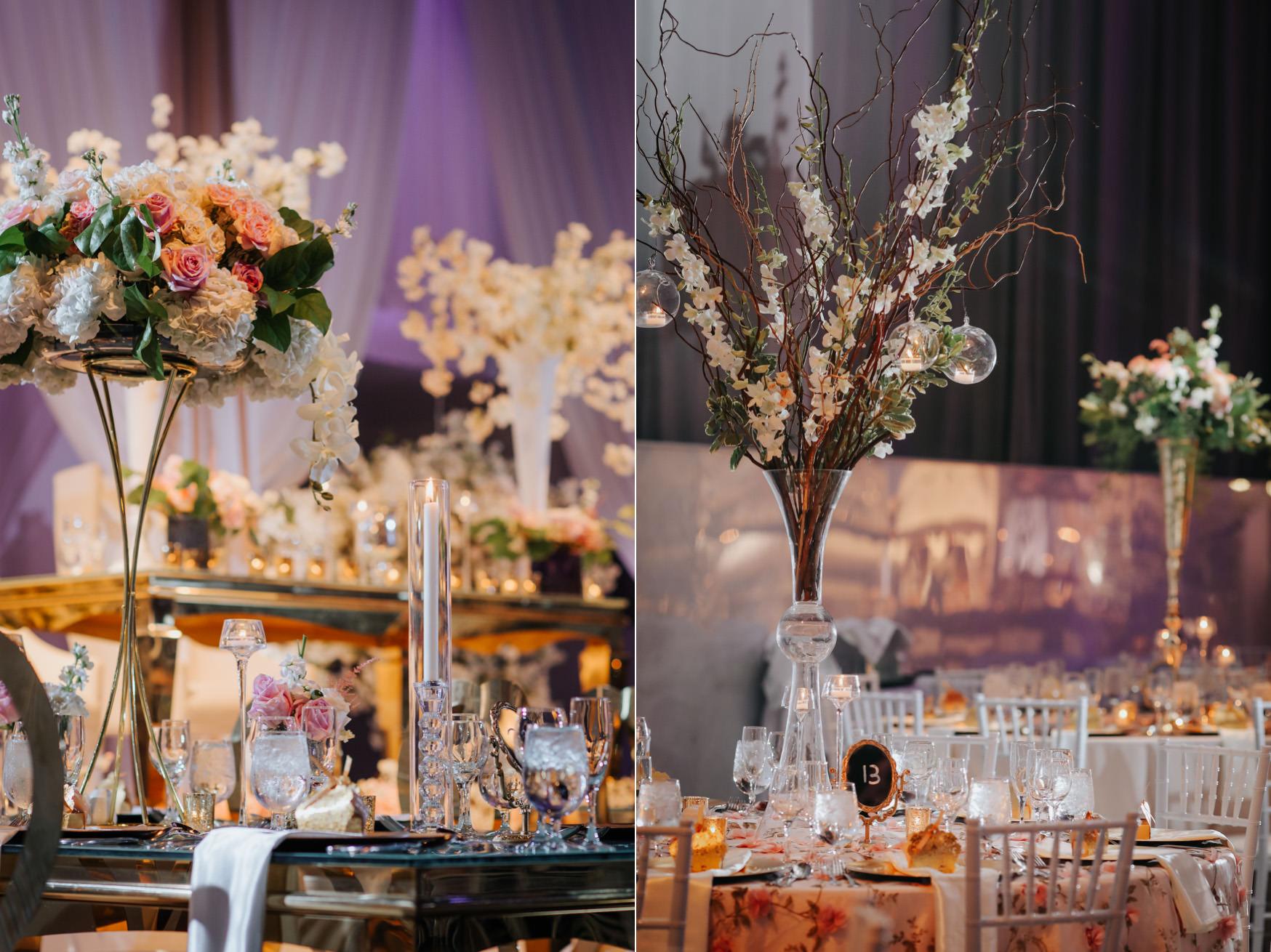 Liberty Grand Artifacts Room Wedding Reception Centrepiece