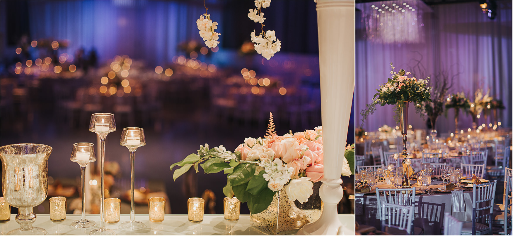 Liberty Grand Artifacts Room Wedding Reception Florals