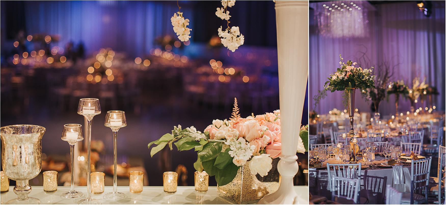 Liberty Grand Artifacts Room Wedding Reception Florals