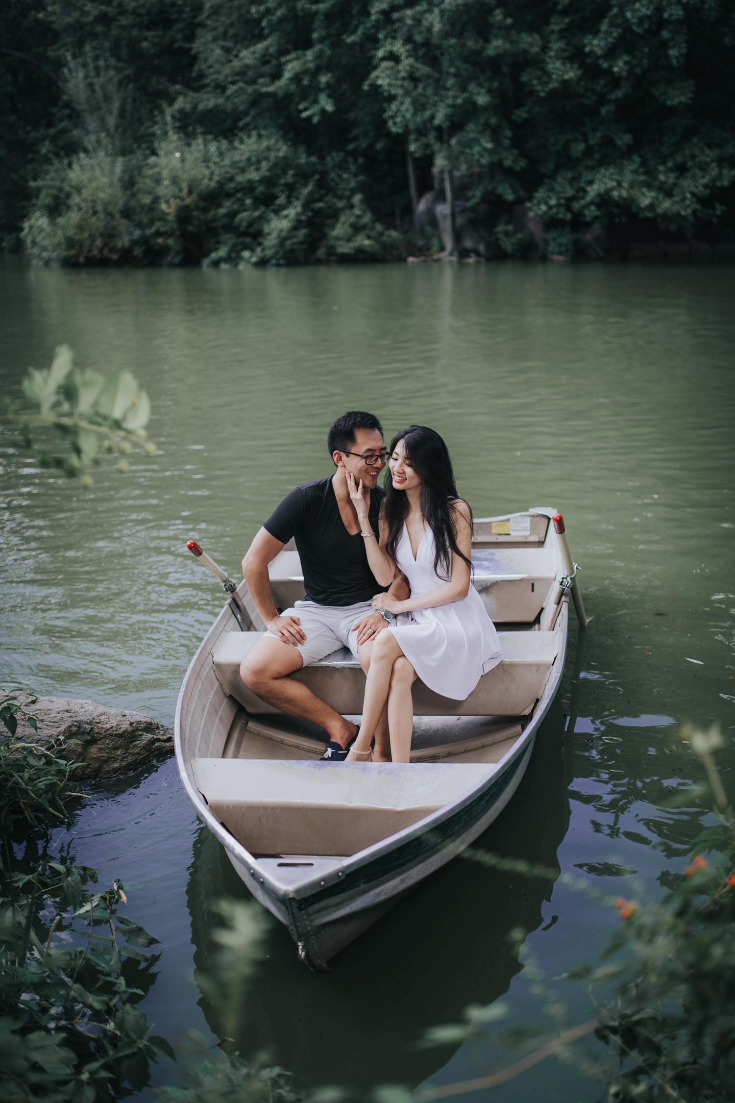 Central Park Row Boat Engagement Session