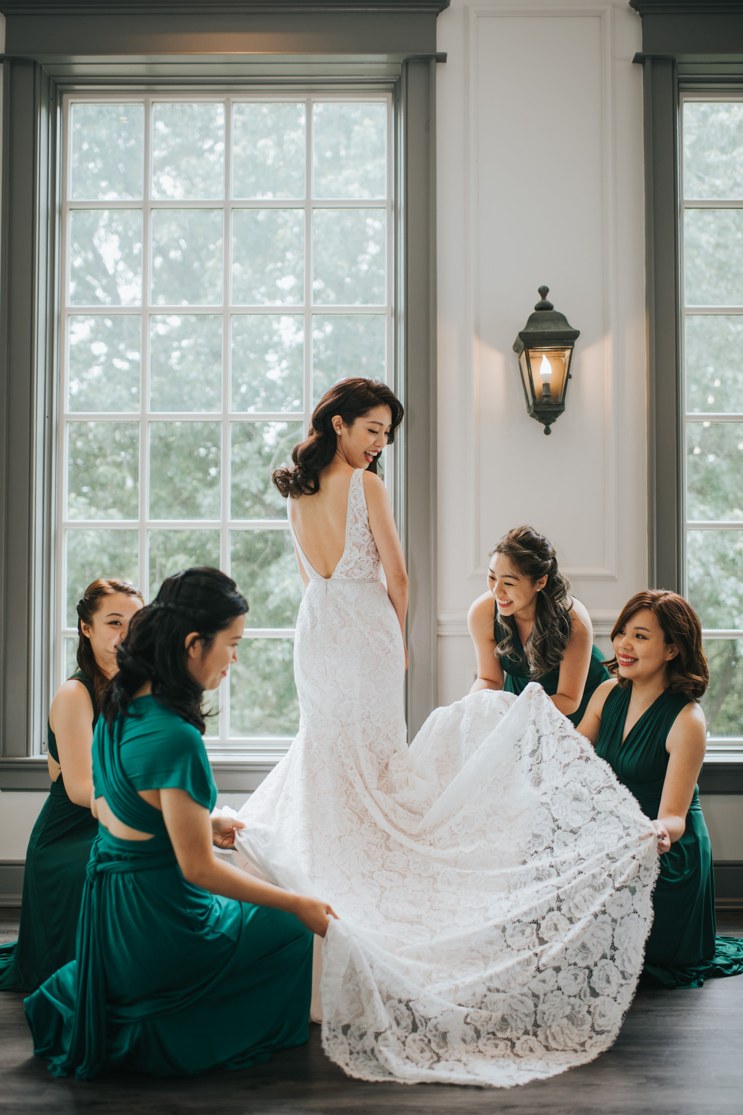 Doctor's House wedding bride getting ready with bridesmaids gown
