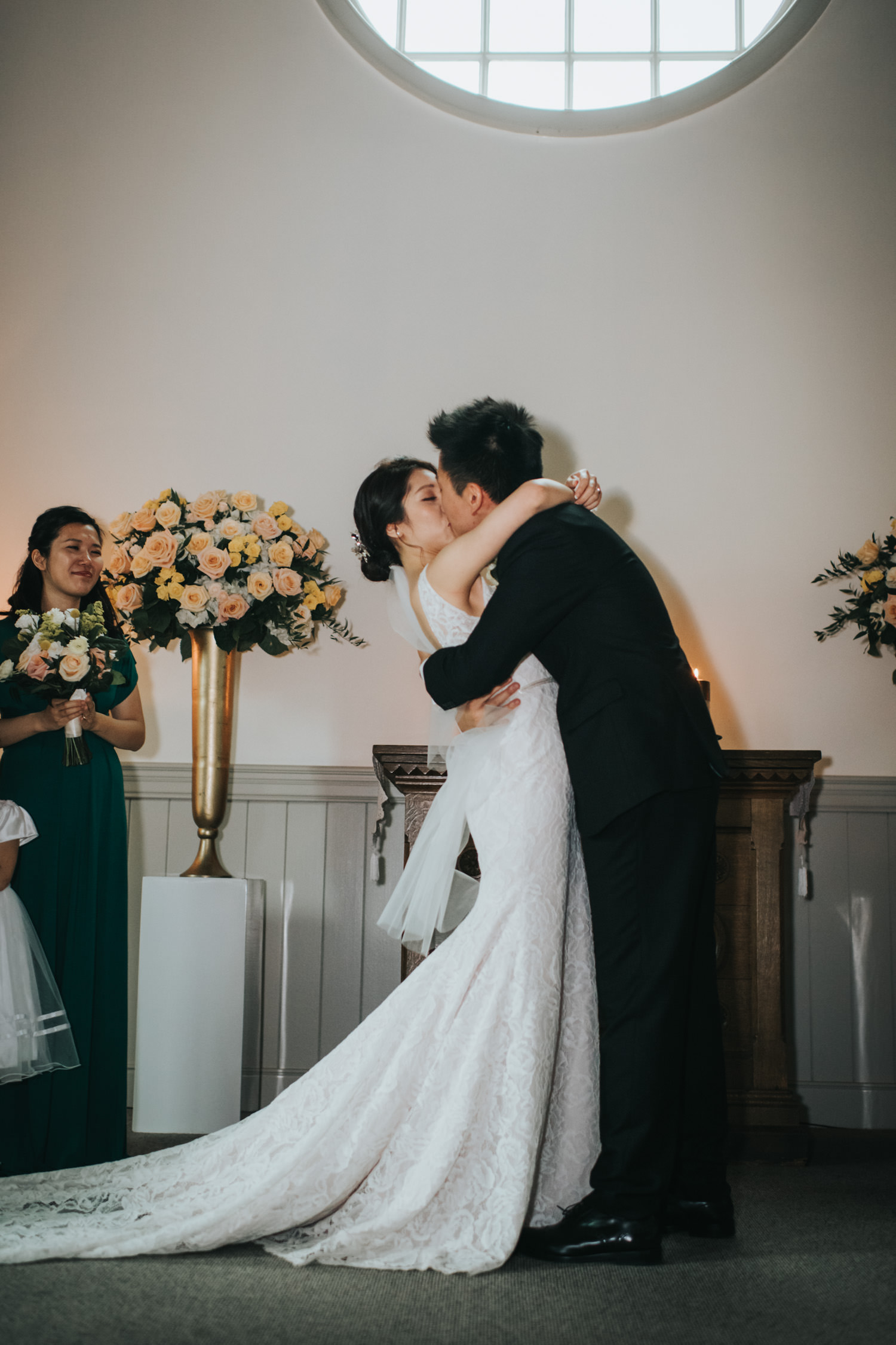 Doctor's House chapel wedding ceremony first kiss