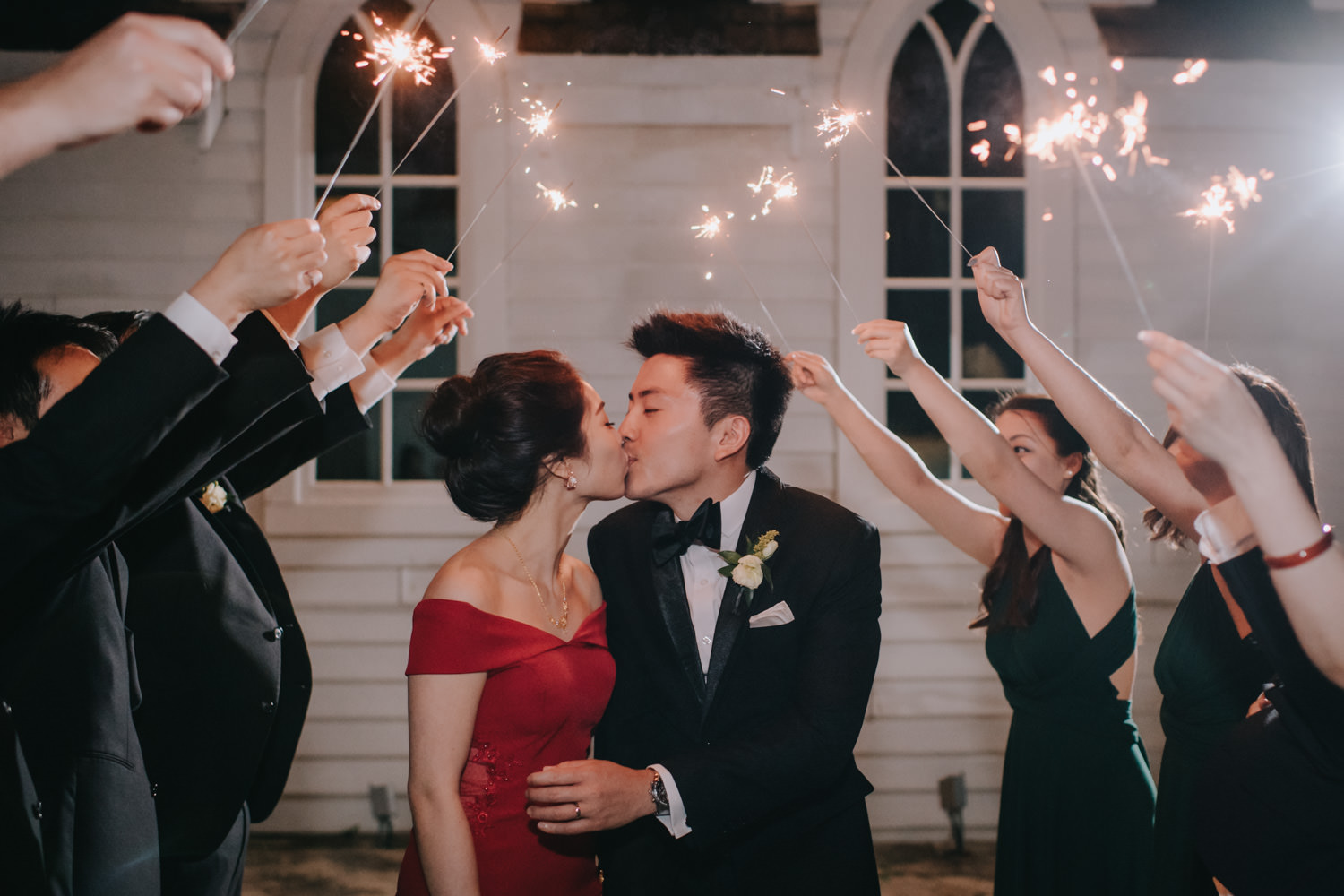 Wedding reception evening portrait with sparklers romantic at Doctor's House