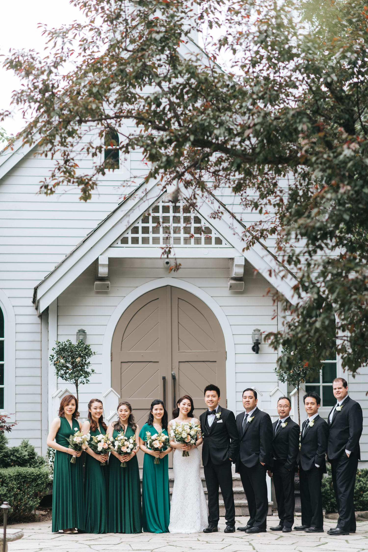 Doctor's House wedding white chapel group bridal party photo