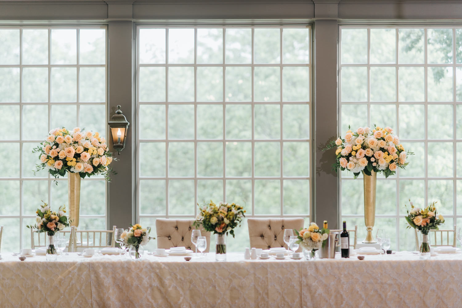 Doctor's House wedding indoor venue decor large french windows