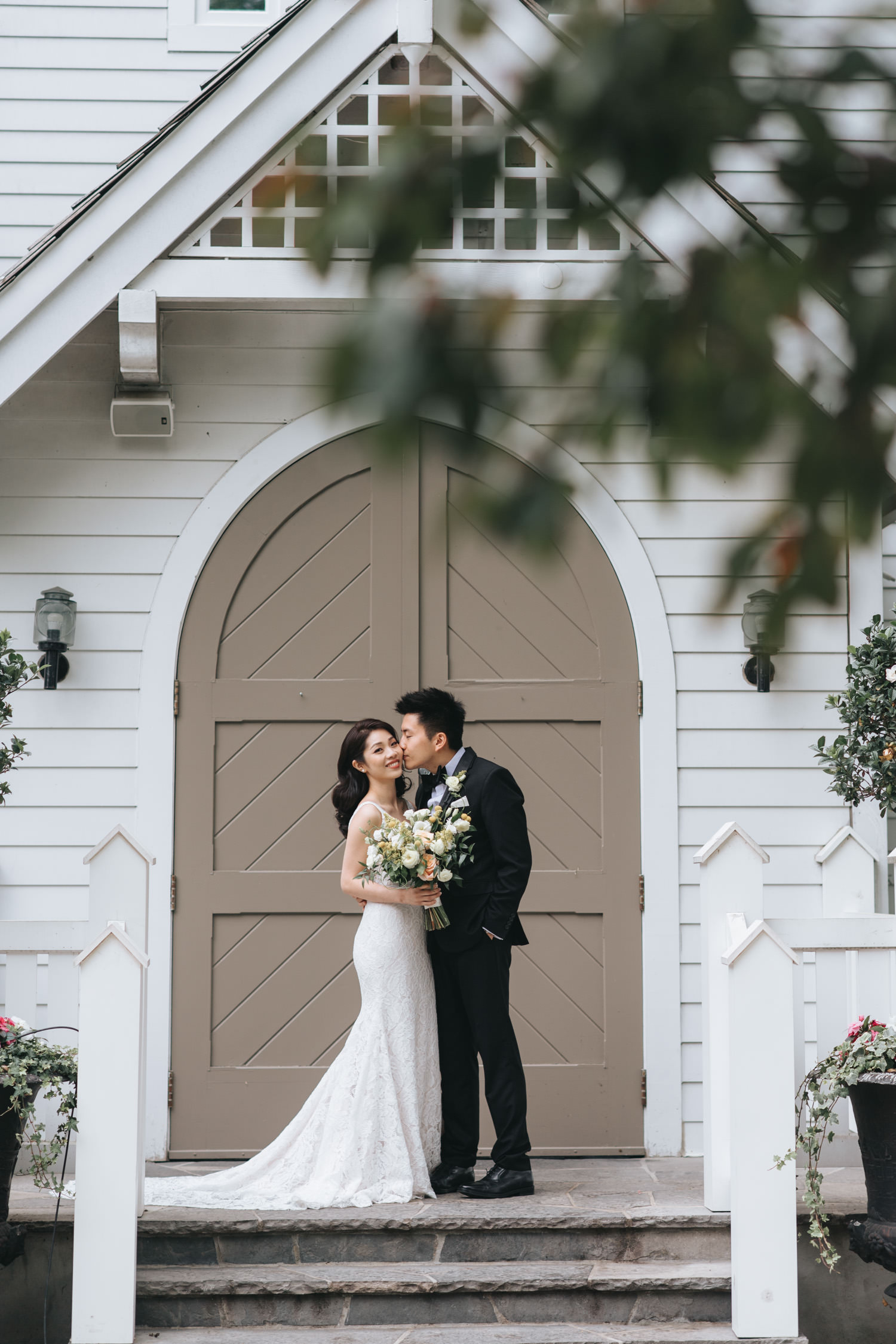 Doctor's House wedding portrait photo at cream white vintage chapel