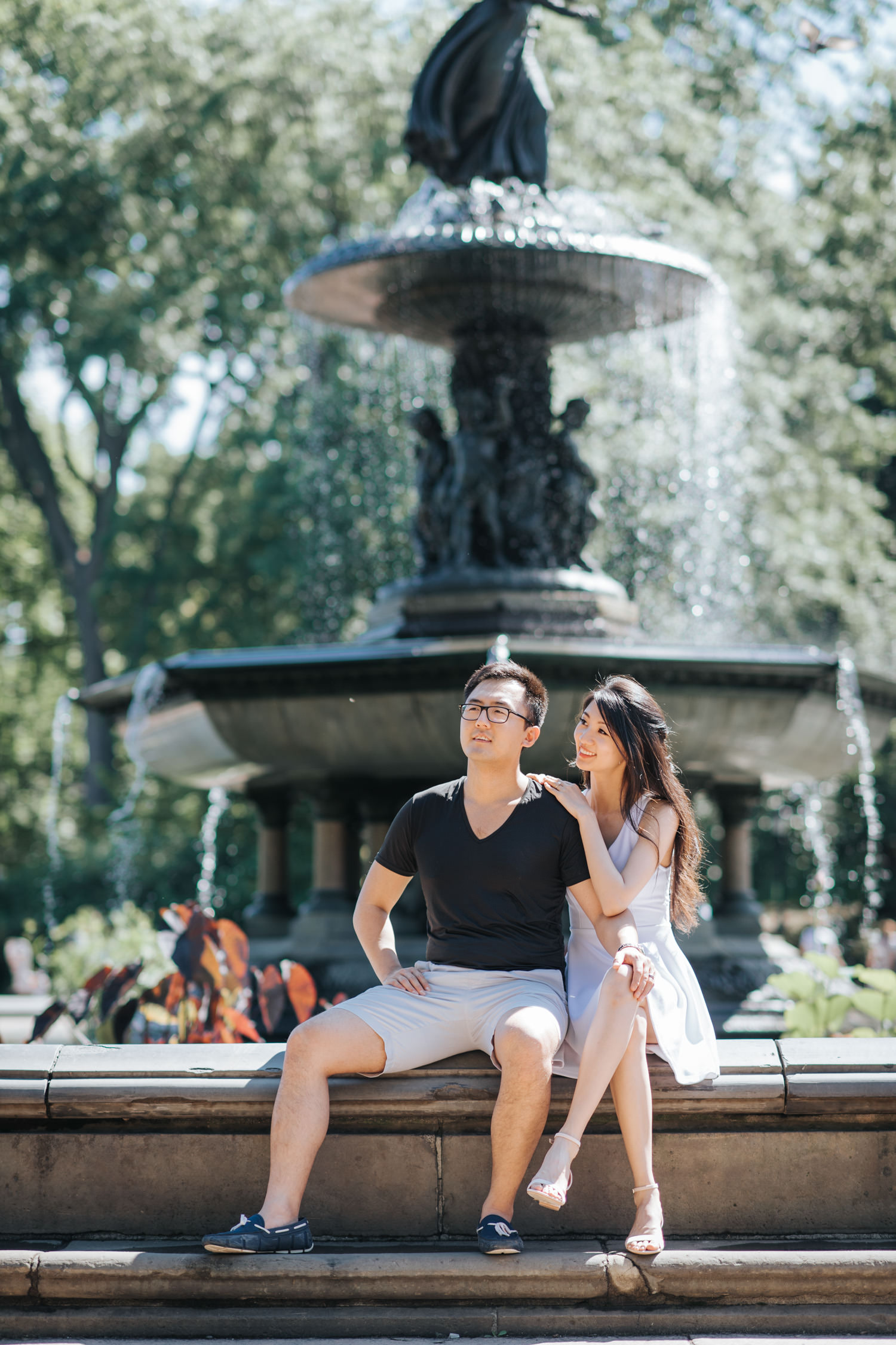 Engagement Photo at the Central Park Bethesda Fountain
