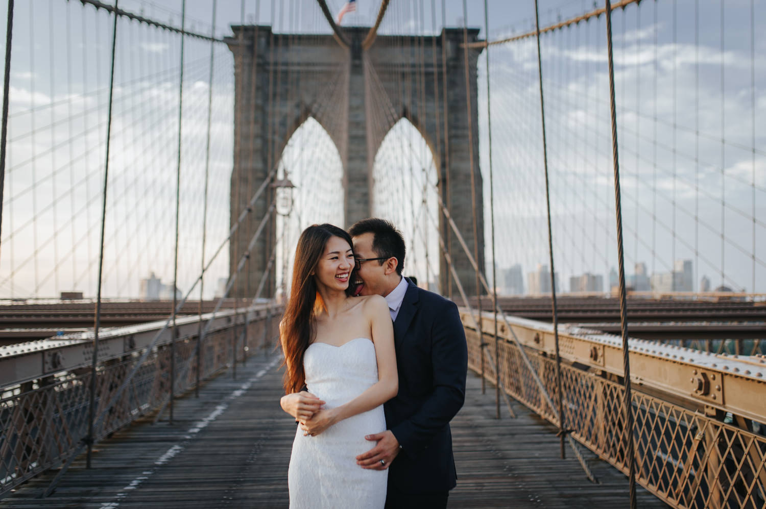 New York Engagement Photo Session on the Brooklyn Bridge
