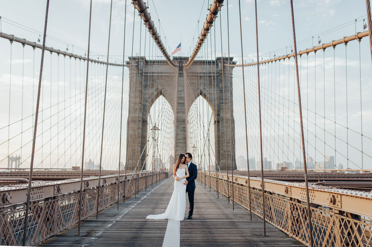 Pre-Wedding Photography Session at the Brooklyn Bridge in New York
