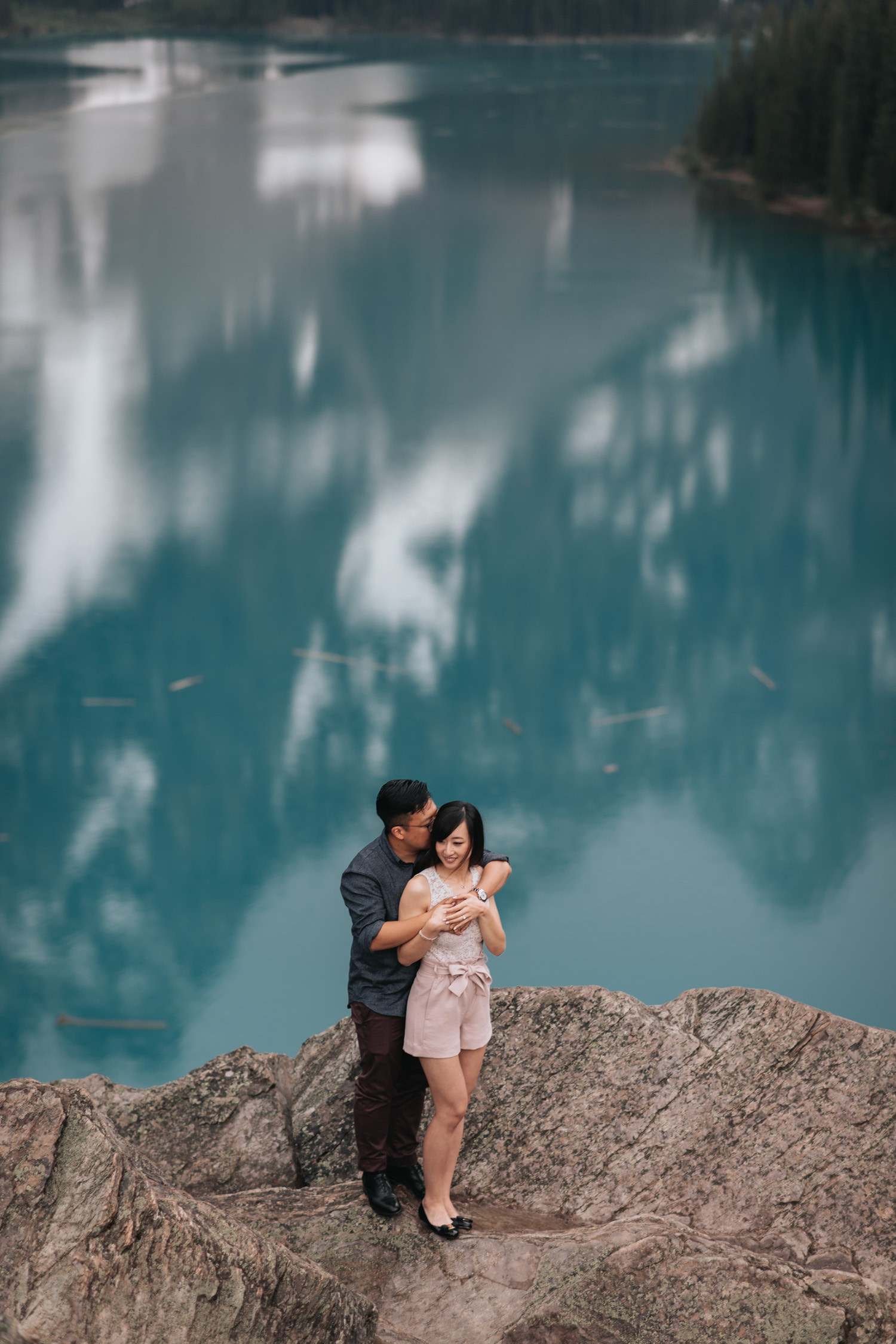 Banff national park aqua blue colour lake engagement