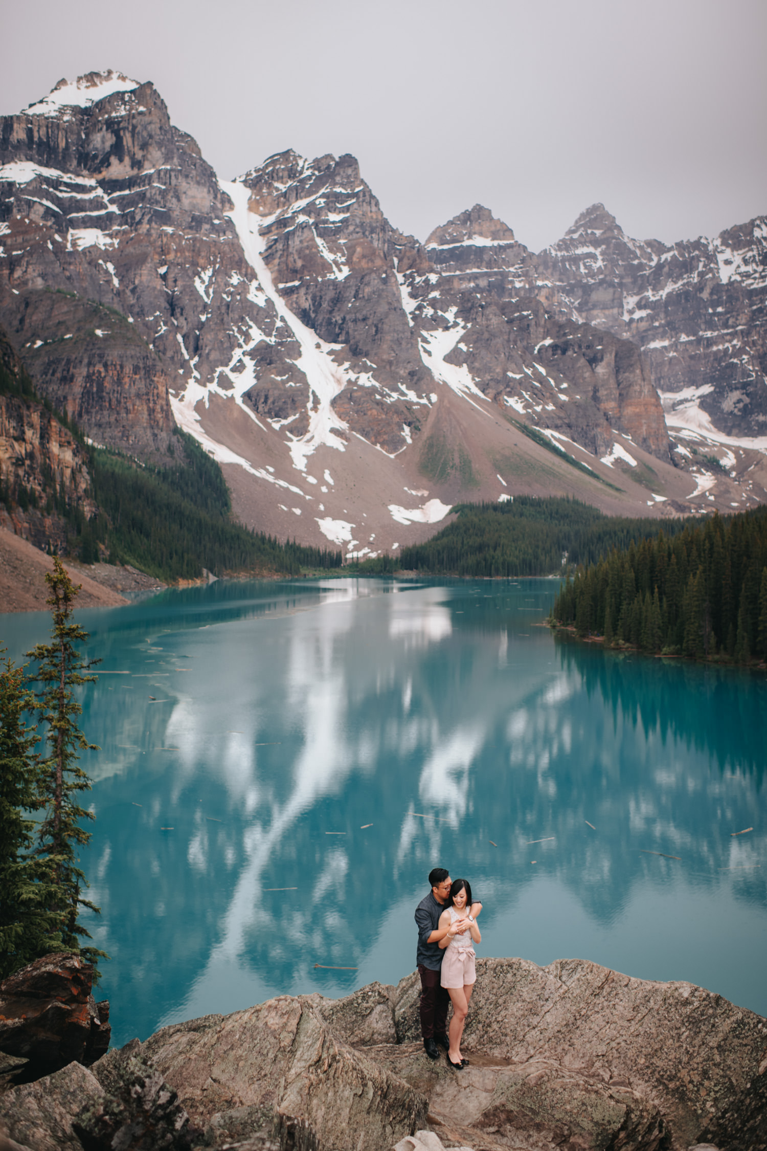 Moraine Lake Banff Engagement Wedding Photo