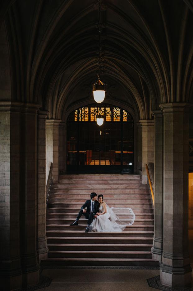 Knox College Wedding indoor portrait