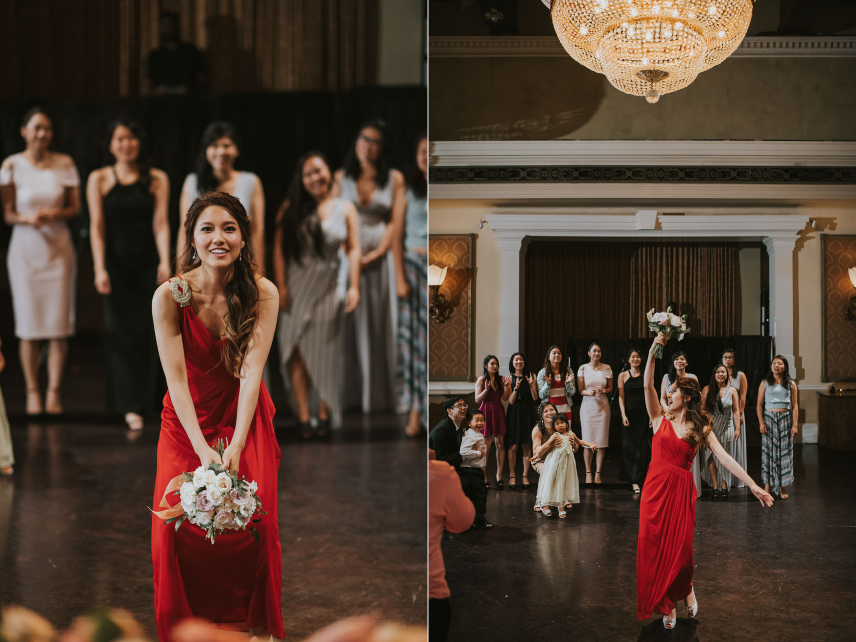 Liberty Grand Wedding renaissance room reception bouquet toss