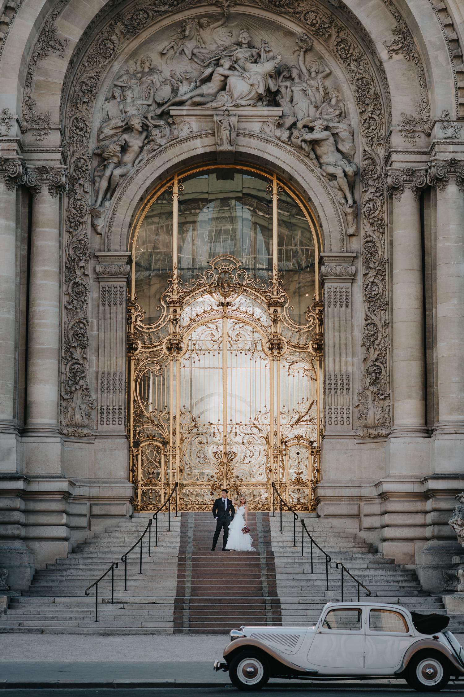Paris Elopement Photography under the golden arch and vintage citron