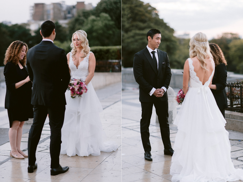 Paris elopement eiffel tower wedding ceremony photo