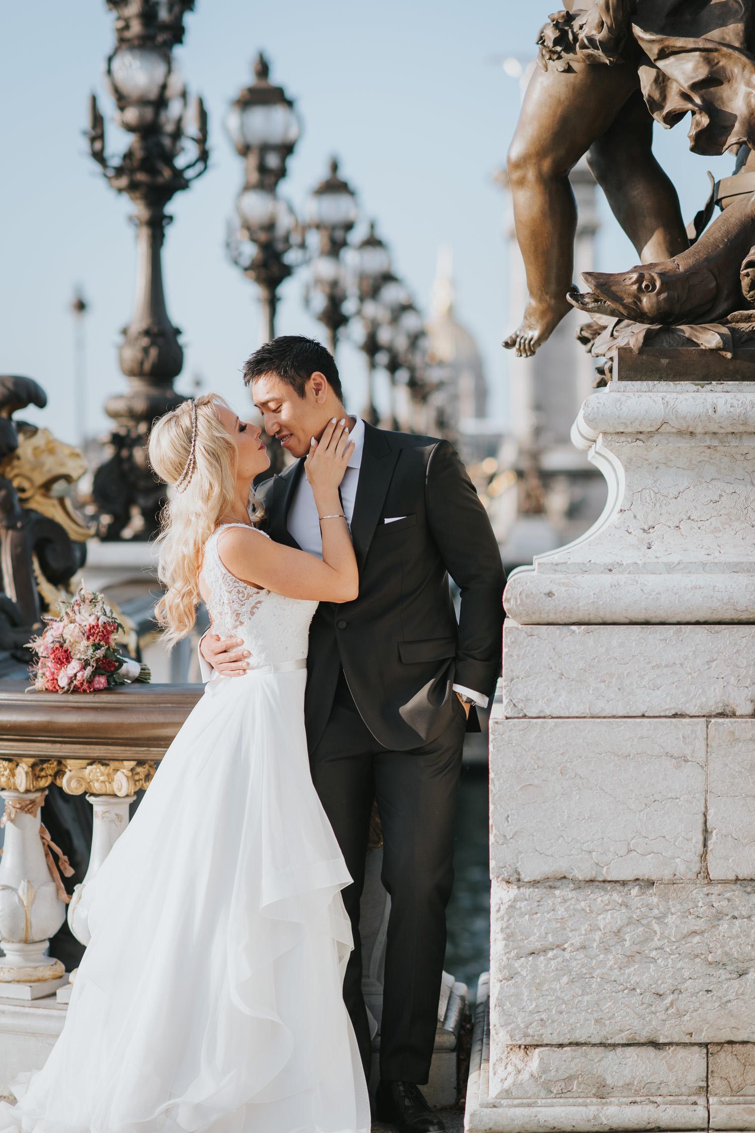 Pont Alexandre wedding elopement photo in Paris