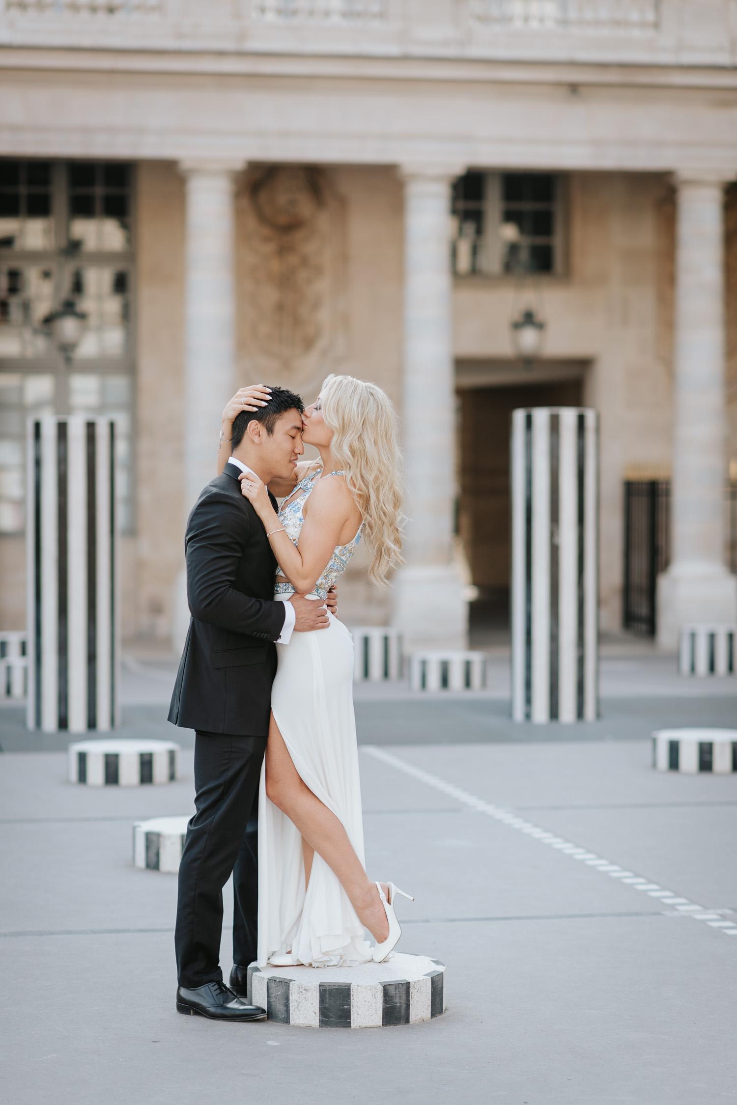 Romantic Palais Royal Engagement photo session