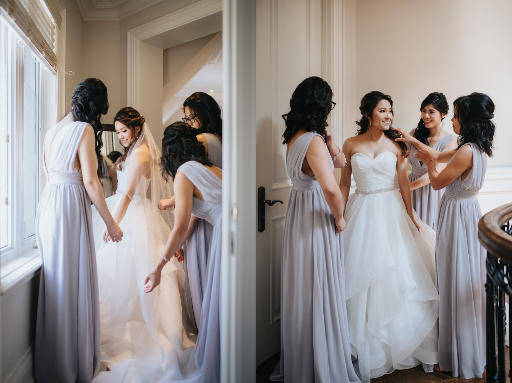 Toronto Wedding Bride Getting Ready while bridesmaids help her with touch up