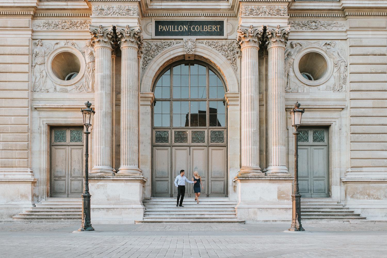 Pavillon Colbert elopement photo beside Louvre in Paris